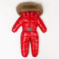 30 градусов детские комбинезоны натуральный мех енота Детские зимняя куртка пуховик Зимняя одежда белая утка вниз для маленьких мальчиков