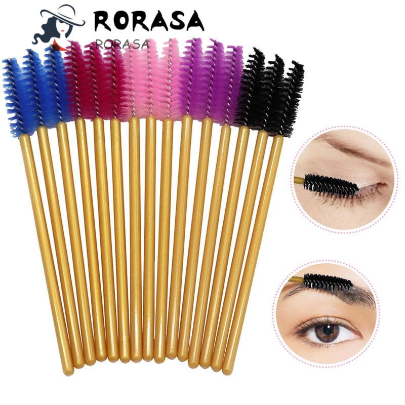 RORASA 50Pcs/Pack Disposable Micro Eyelash Brushes Mascara Applicator Wand Brushes Comb Eyelash Brushes Spoolers Makeup Tool Kit