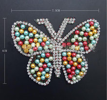 2018 hotfix rhinestone Colorful beads butterfly motif iron on patches  applique for heat transfer clothing shoe bag Crafts diy 4f5a3e8bc16b