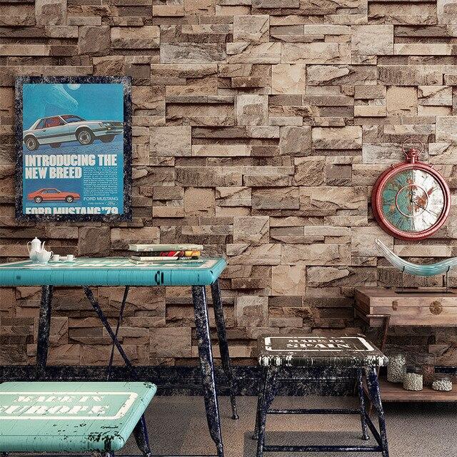 Vintage 3D Steen Bakstenen Muur Behang PVC Waterdicht Behang ...