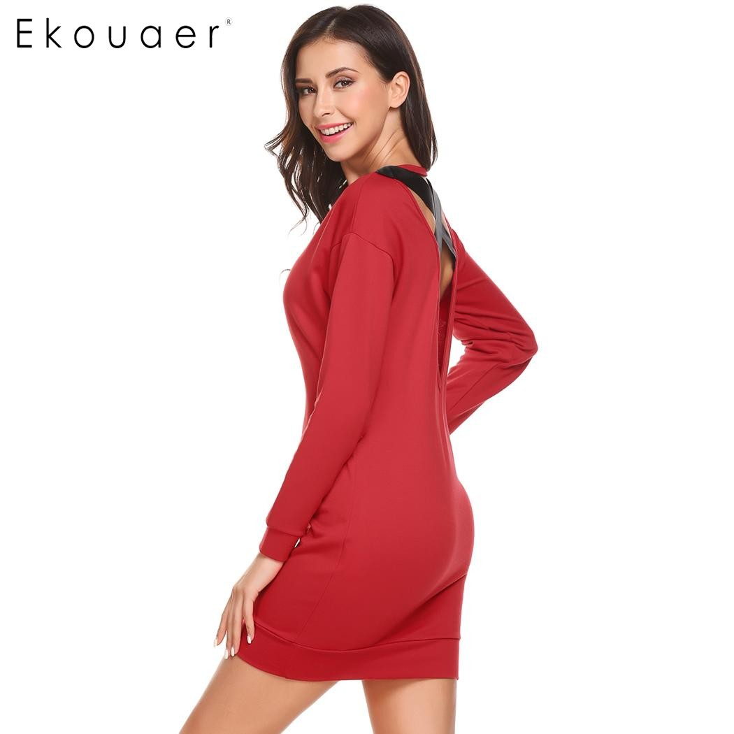 Ekouaer Women Nightgown O-Neck Long Sleeve Solid Mini Backless Nighties Sleepwear Dress Nightdress Female Sleepshirt Homewear