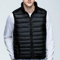 Fashion New 2016 Winter Down Vest Men Stand Collar Ultralight Sleeveless Jacket Waistcoat 90 White Duck