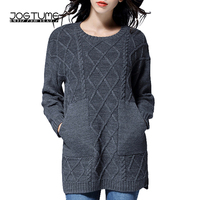 JOGTUME Long Sweaters for Fall Women's Grey Loose Chunky Oversized Sweater Thick Vintage Winter Warm Pullover Jumper 4xl 5xl