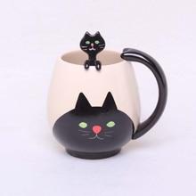 Ручная роспись кофейная чашка, милая панда/лягушка/кошка/свинья керамическая кружка, чайная чашка включает чайную ложку