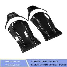 Carbon Fiber Seat Back Backseat Trim Covers 4 PC/Set Fit For BENZ CLA45 A45 W205 C63