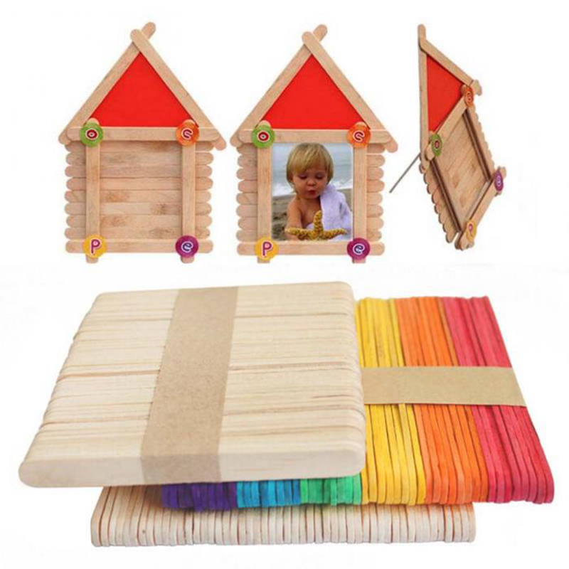 50PCS/Lot Colorful Wooden Popsicle Sticks Natural Wooden Ice Cream Sticks Kids Favor DIY Hand Crafts Ice Cream Tools
