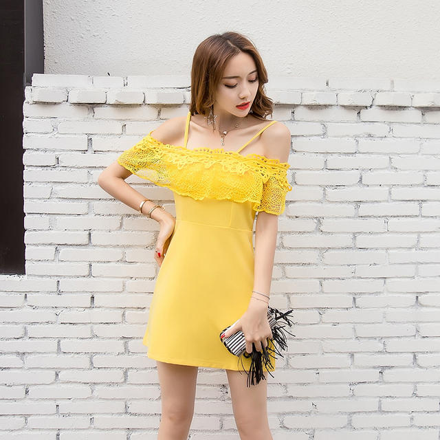 88bd241e7132 2017 Summer Off Shoulder Dresses Women Strap Sexy Dress Slim Bodycon A-Line  Club Dress Yellow Pink Mini Dress