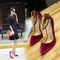 Mulheres primavera Sapatos 2017 Mulheres Bombas Tira No Tornozelo Veludo Apontou Toe de Salto Alto Rasas Mulheres Sapatos Sandálias de Verão Tamanho Grande preto
