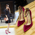 Spring Women Shoes 2017 Ankle Strap Velvet Women Pumps Pointed Toe High Heels Shallow Women Shoes Summer Sandals Big Size Black
