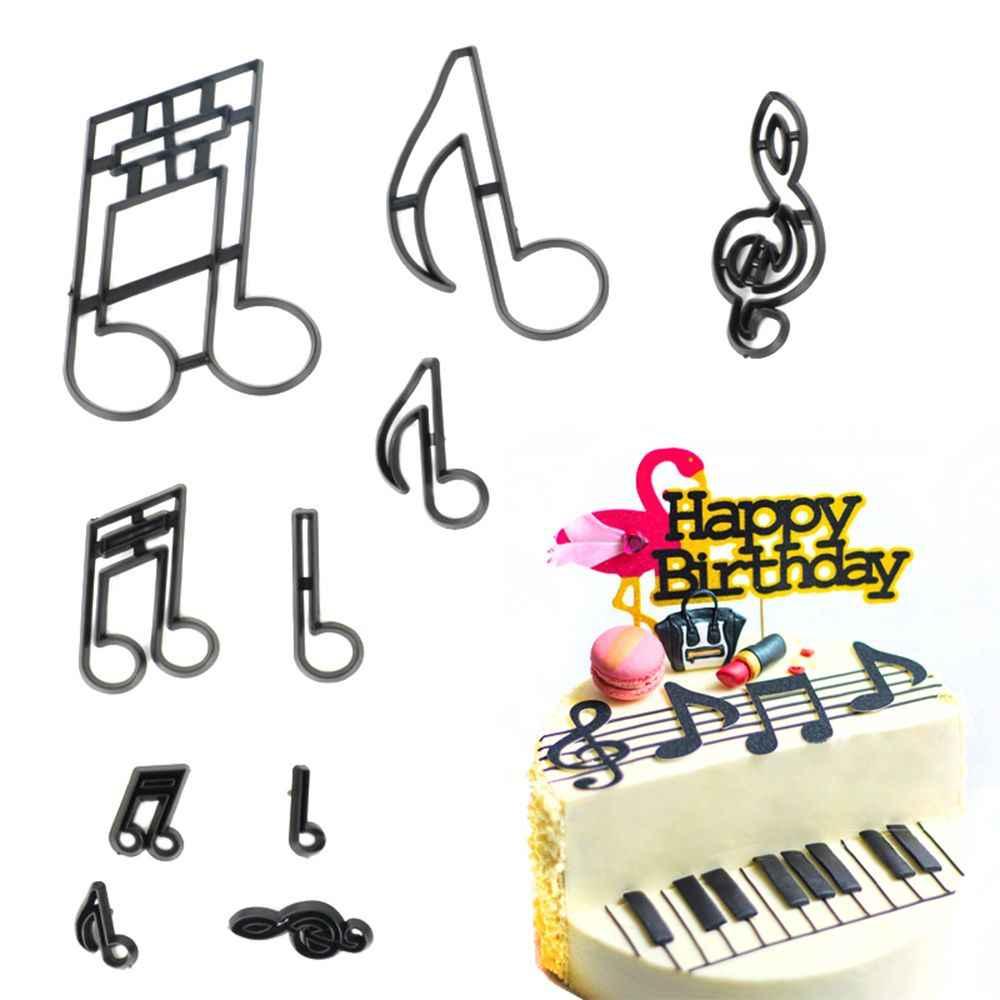 10 pçs/pçs/set notas de música cortador de biscoito de plástico sugarcraft fondant cortador molde ferramentas decoração do bolo cozimento cupcake molde