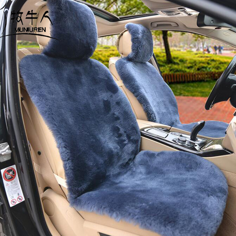MUNIUREN Luxury Australia Wool Car Seat Cushion Winter High Quality Whole Piece of 100% Genuine Wool Fur Sheepskin Seat Cushion ogland natural fur comfort authentic fluffy sheepskin car seat cover for soft car seat cushion made of australia wool automobile