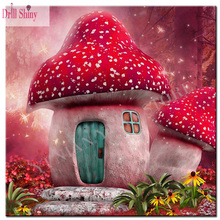 diamond Mosaic fairy tale mushroom house picture diy 5D Diamond Painting cross stitch embroidery kits font