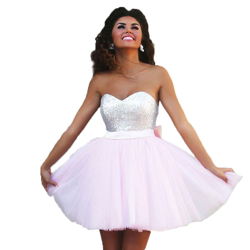 Custom Made Vestidos De Curto Sweetheart A line Light Pink Tulle Silver  Sequins Short Prom Dresses-in Prom Dresses from Weddings   Events on  Aliexpress.com ... 80a632a66