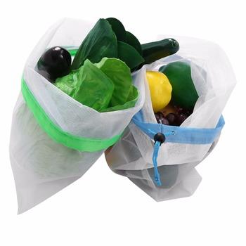 15pcs 3 Sizes Reusable Mesh Produce Bag Washable Mesh Bags for Grocery Bag Holder Pouch Fruit Vegetable Organizer