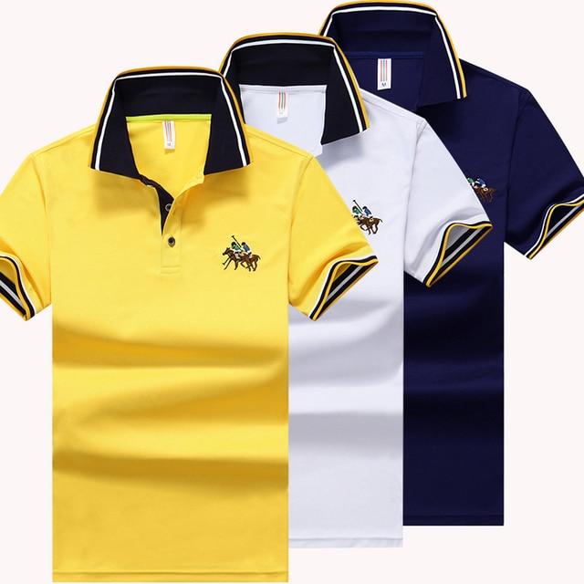 2016 New Fashion Brand Polo Shirts Men Summer Short Sleeve Slim Shirt Cotton Men Casual Tee Shirts 2XL 3XL TS11102