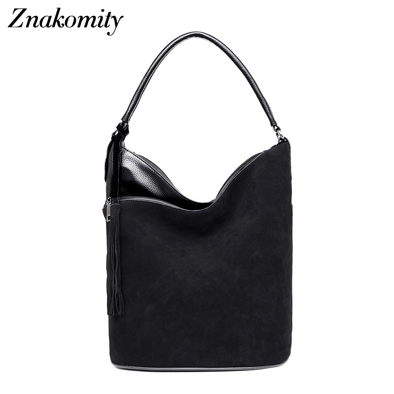 Znakomity Black Suede pu Leather shoulder bag female Autumn ladies handbags for women Casual tote hand bag tassel crossbody bags
