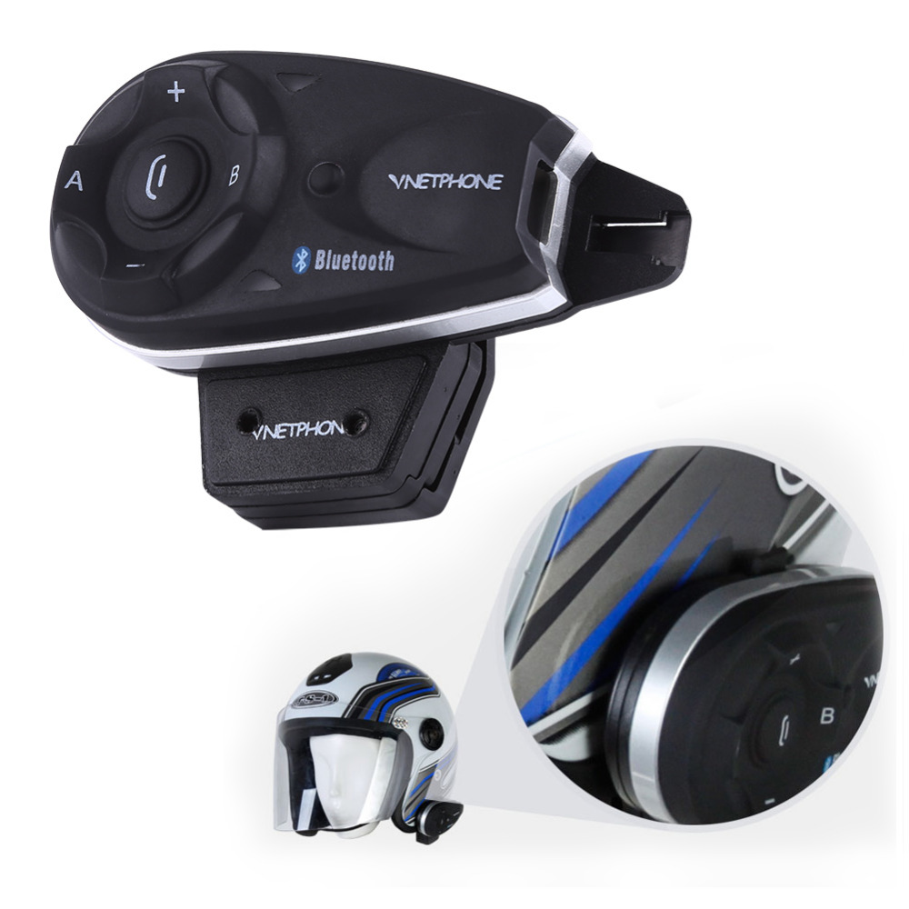 1x Bluetooth Motorcycle Helmet Interphone Intercom Headset V5 1200M Full Duplex Support 5 Users