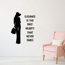 Elegant fashion woman vinyl wall stickers slogan studio salon decoration painting home bedroom wallpaper MV03