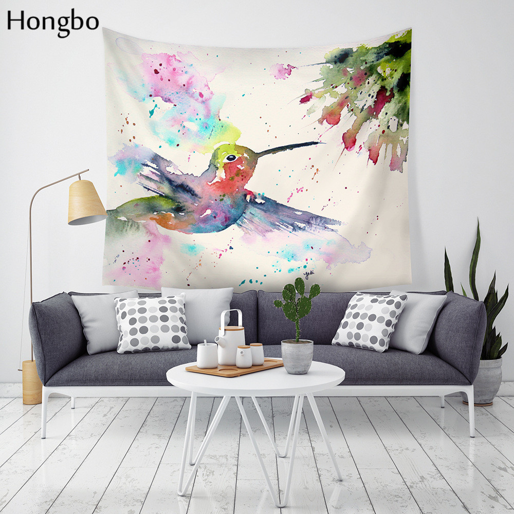 Hongbo Drop Shipping Watercolor Birds Hanging Wall Tapestries Mandala Bohemian Tapestry Landscape Wallpaper Wall Art Shawl Throw in Tapestry from Home Garden