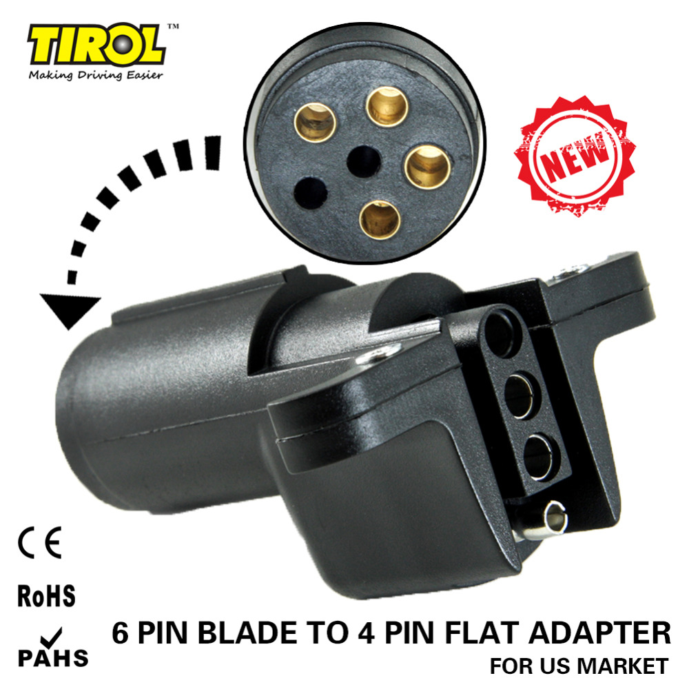 Tirol 6 Way Round Pin To 4 Way Flat Trailer Wiring Adapter