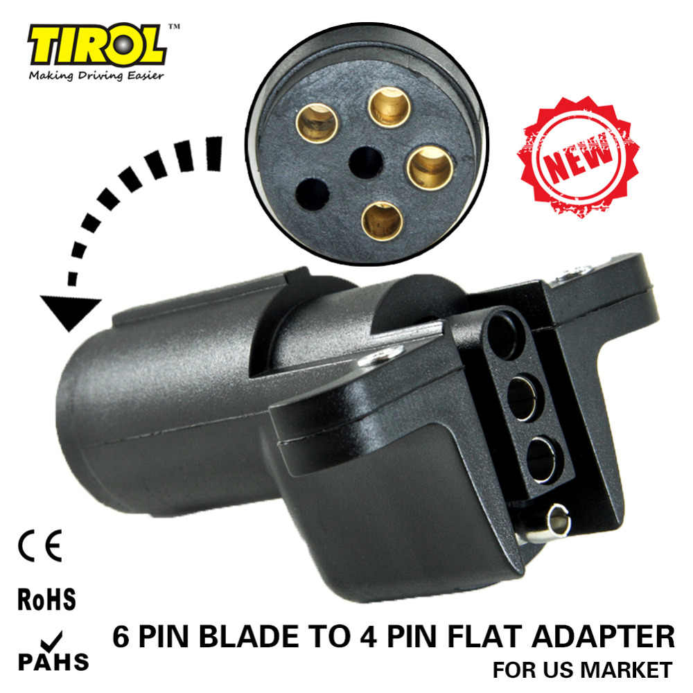 hight resolution of detail feedback questions about tirol 6 way round pin to 4 way flat pin trailer plug adapter also 6 pin flat trailer connector wiring
