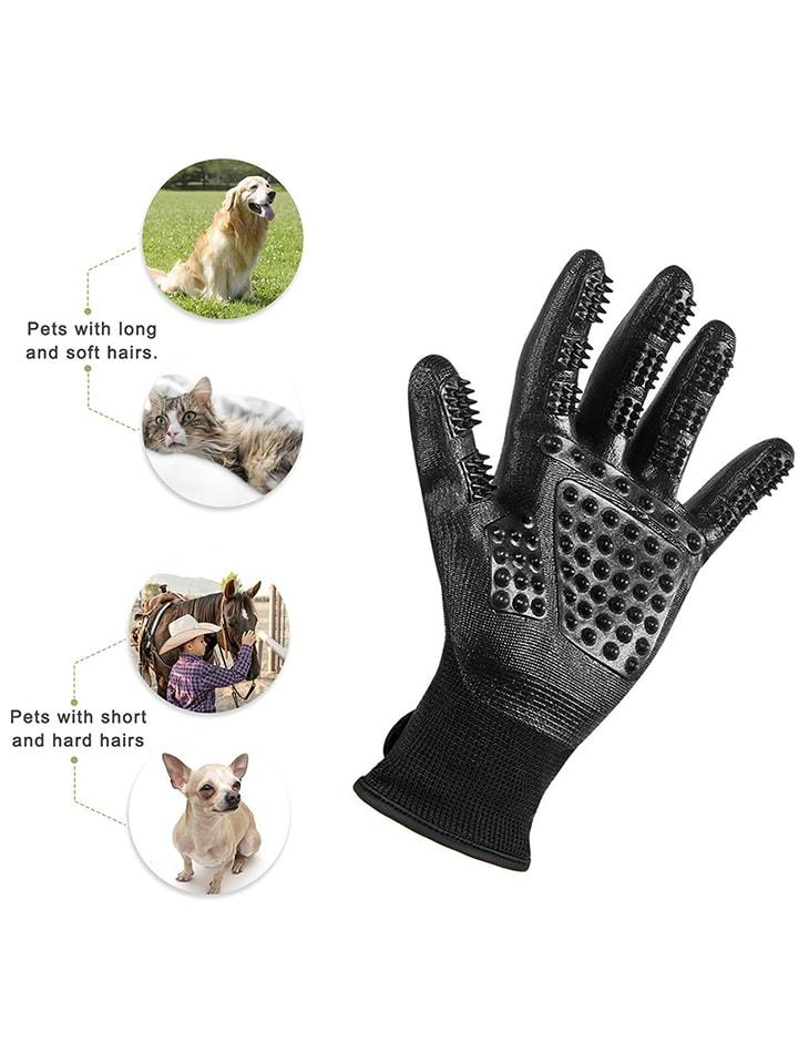 Pet Shedding Grooming Gloves For Cats, Dogs & Horses - Left & Right ( 1 pair ) Pet Hair Glove Cleaning/Deshedding/Massage