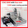 2013 CNC 6040 4th Axis 4axis Four Rotary Axis 1 5KW Spindle Tailstock Cnc Router Engraver