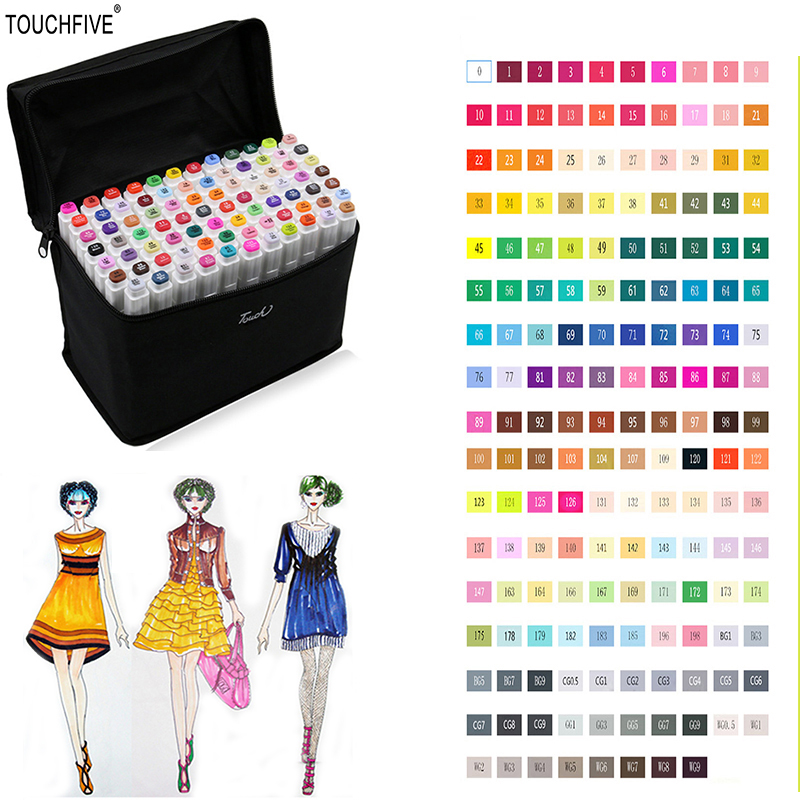 TOUCHFIVE 80 Colors Artist Painting Art Marker Pen Head Oil Art Sketch Graffiti Copic Markers Set