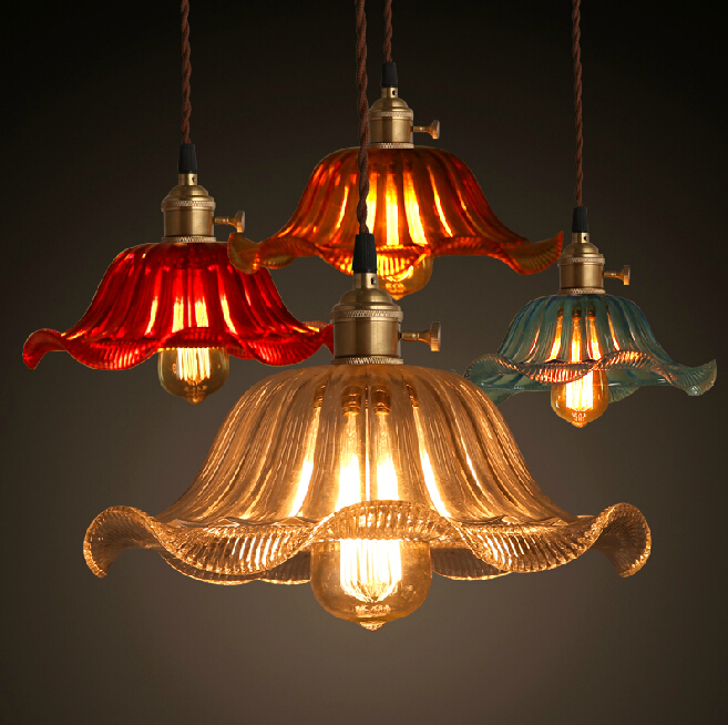 Shanghai Old Republic single head wind glass shade of color living room chandelier lighting a restaurant cafe