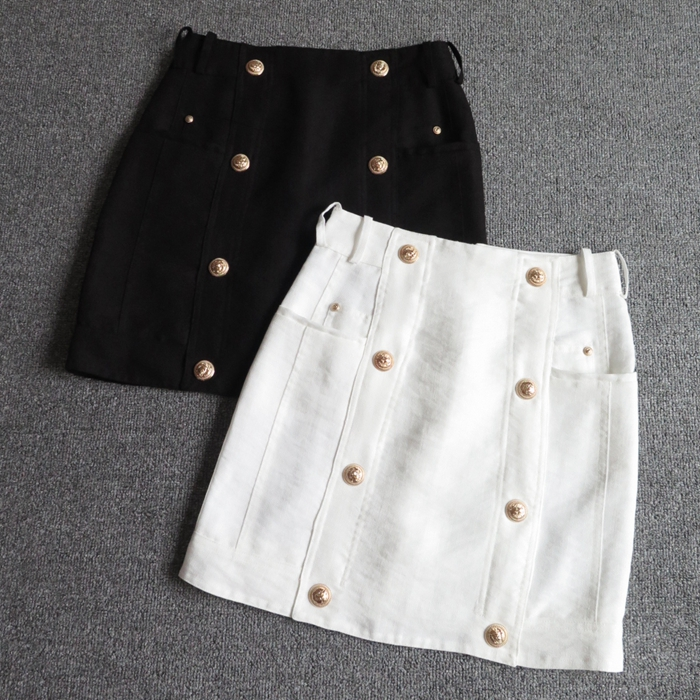 Black Skirt With Gold Buttons - Dress Ala