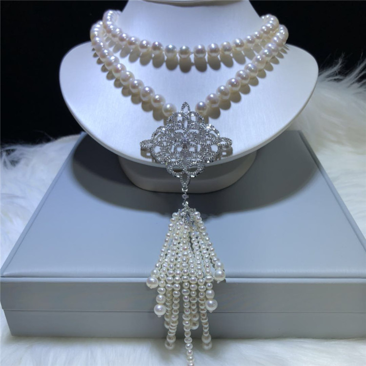 Hand knotted 75 80cm long natural 9 10mm white round freshwater pearl micro inlay zircon accessories necklace fashion jewelry-in Chain Necklaces from Jewelry & Accessories    1