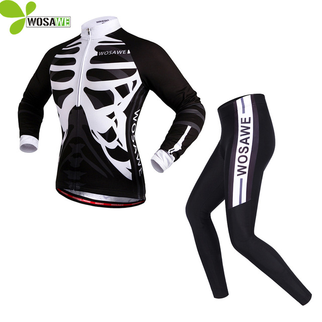 WOSAWE Maillot Ciclismo Roupa de Ciclismo Esqueleto Skeleton Cycling Suits Men Silicon Gel Padded Bicycle Clothing