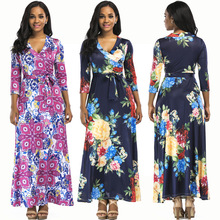 New hot fashion personality printing v-neck casual ethnic style loose long-sleeved wide-leg female dress