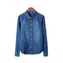 Плюс Размер vetement Новый 2016 Женская Одежда Блузки С Длинными Рукавами Джинсовые Рубашки Ностальгию Старинные Синие Джинсы Рубашка Camisa Femininas