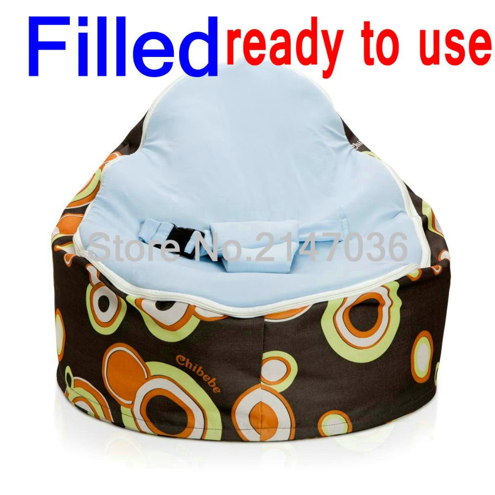 Fillled baby bean bag, ready to use bean bag chair, kids living room sofa chair - blue top, with fillings baby seat domestic beige baby seat and sofa with 2 top covers nice quality baby infant bean bag cheap sale