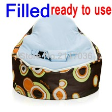 Fillled baby bean bag, ready to use bean bag chair, kids living room sofa chair – blue top, with fillings baby seat
