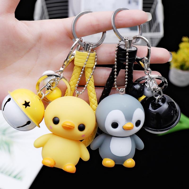 2019 New Creative Cute Cartoon Little Penguin Doll Car Keychain Creative Male And Female Bag Key Chain Ring Pendant Keychain