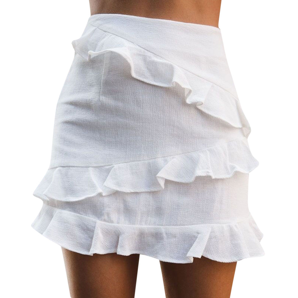 Woman Solid Color White Ruffles Mini Skirt Fashion Summer Straight Skirts Casual Simple Beach Holiday Mini Short Skirt #SYS
