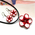 Beautiful Women's Jewelry Polymer Clay Flowers Pendant Necklace Earrings Sets Red and White