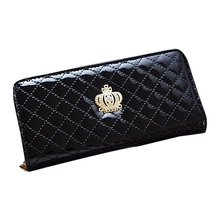 women quilted long wallet crown purse women Wallets With Coin Bag(Black Crown)