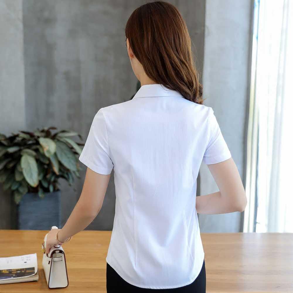 レディーストップスとブラウスコットン固体女性ブラウス半袖ホワイトプラスサイズ Xxxl/4XL Blusas Femininas エレガンテ