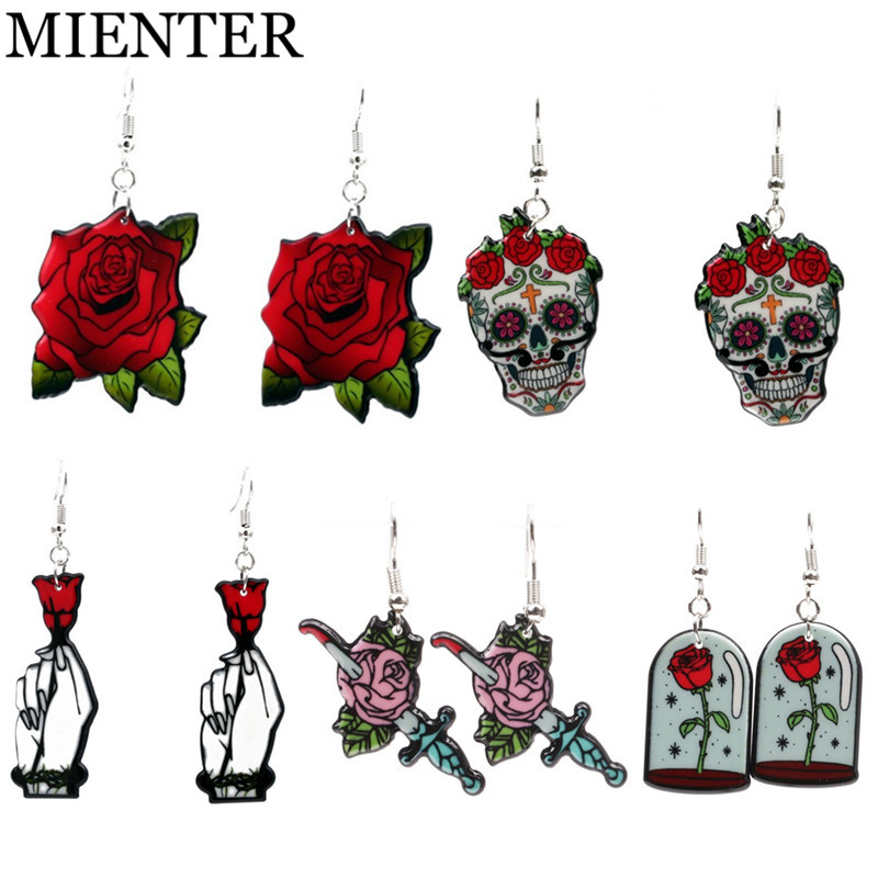 MIENTER Fashion Hand holds rose red flower skull Dangle Acrylic earrings for women Exagg ...