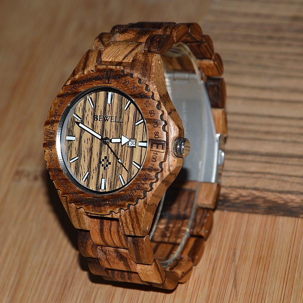 BEWELL heren horloges houten kist met houten band met kalender - Herenhorloges - Foto 2