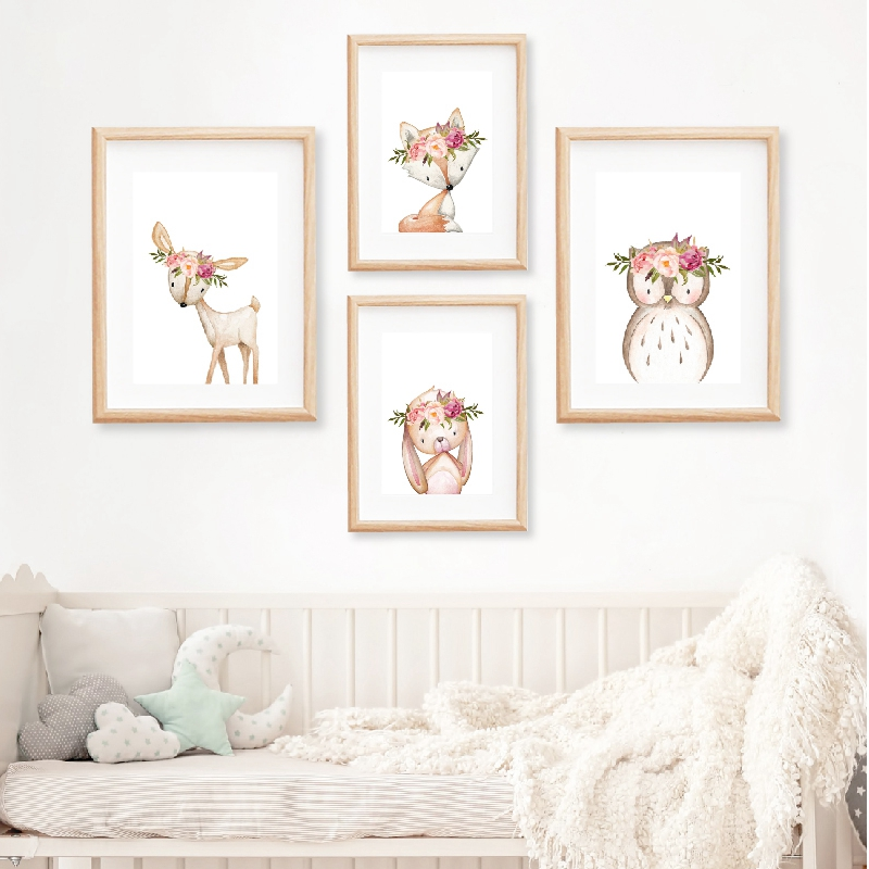 Pink Peonies Woodland Animals Nursery Wall Art Canvas Painting Pictures Boho Fox Deer Rabbit Owl Posters Print Baby Room Decor