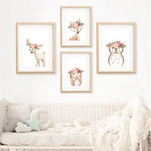 Pink Peonies Woodland Animals Nursery Wall Art Canvas Painting Pictures Boho Fox Deer Rabbit Owl Posters Print Baby Room Decor(China)
