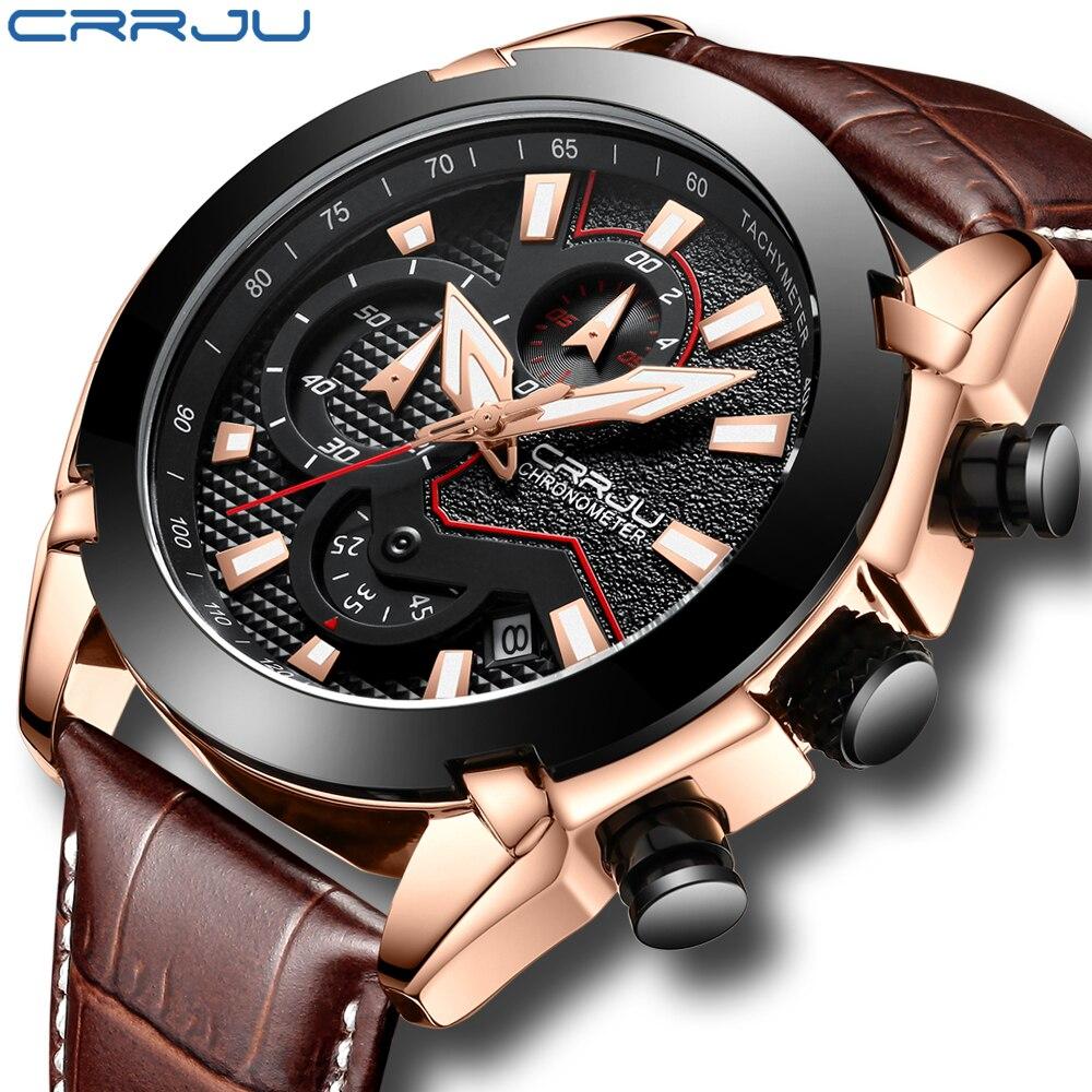 Man Watch Leather 2018 Fashion Casual Military Quartz Sport Wristwatch Chronograph Mens Watches 30M Water Resistent CRRJU Reloj xd342 2015 dz reloj 30m dz4563