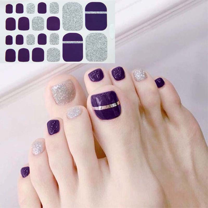 D34 Adhesive Toe Nail Sticker Glitter Summer Style Tips Full Cover Toe Nail Art Supplies Foot Decal For Women Girls Drop Ship