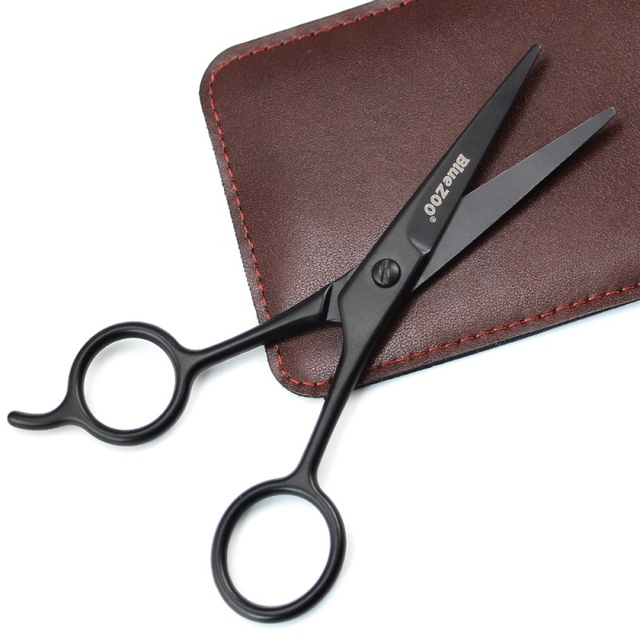 Home Use Hair Scissors Barber Black Mini Size Shaving Shear Beard Trimmer Stainless Steel Beard Scissor Eyebrow Mustache Scissor