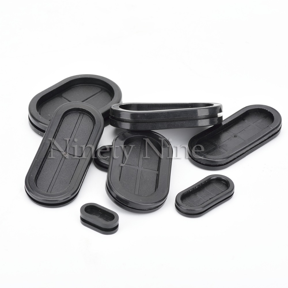 10Pcs Groove Black Synthetic Rubber Oval Shape Double-Sided Wires Grommet Gaskets Protector Rings