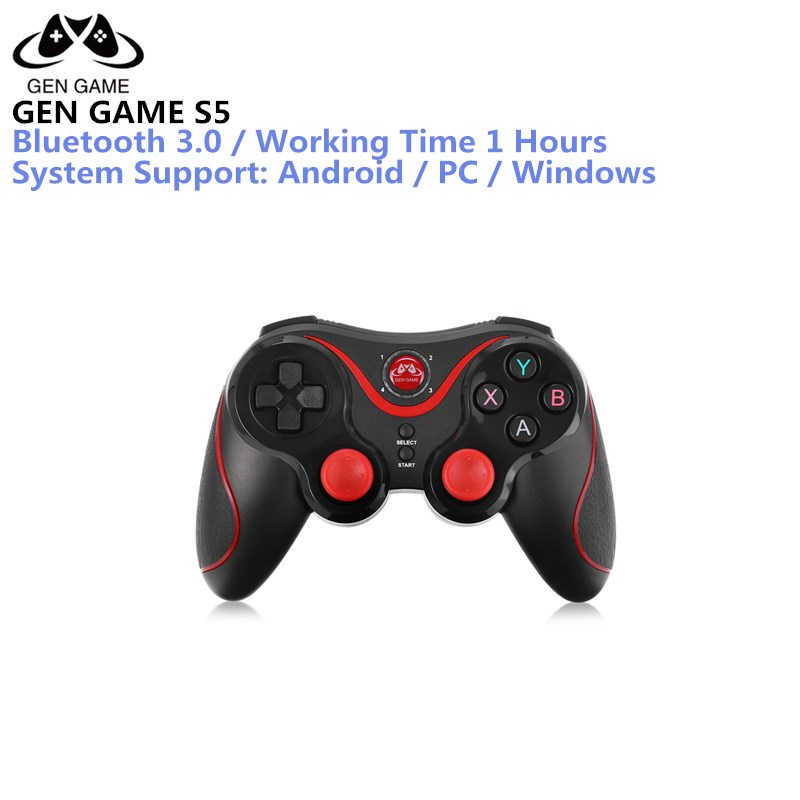 Gen Game S5 Wireless Bluetooth Gamepad Joystick for Android Smartphone Tablet PC Remote Controller Black With Holder To Choose